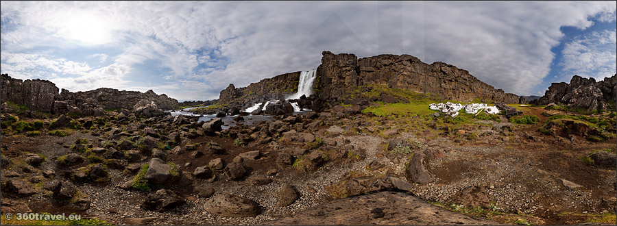Play virtual tour - Öxarárfoss Waterfall